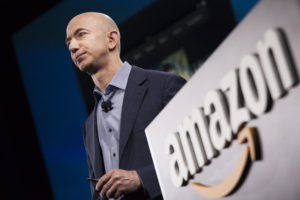 SEATTLE, WA - JUNE 18: Amazon.com founder and CEO Jeff Bezos presents the company's first smartphone, the Fire Phone, on June 18, 2014 in Seattle, Washington. The much-anticipated device is available for pre-order today and is available exclusively with AT&T service. (Photo by David Ryder/Getty Images)